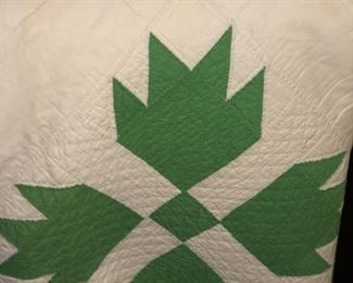 Green bear claw or green wind mill hand pieced and hand quilted.   Most likely made during the late 30s or early 1940's.