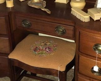 Needle point Mahogany vanity stool.