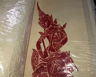 One of several Thailand temple rubbings, both framed and unframed.
