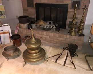 Vintage brass, Turkish fireplace and fire pit,  crocks in background