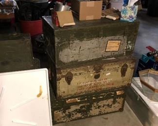 3 of 10 foot lockers.   The middle footlocker is Mrs Allen's from the early 1940's.   Her name, date and The Red Cross are all included on the trunk.