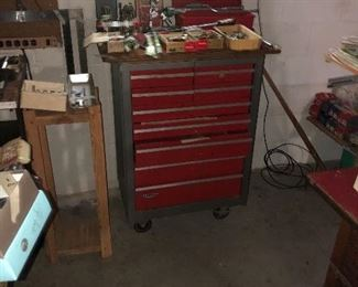 Large assortment of craftsman tools and rolling tool cabinet