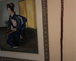 Mid Century Original oil on canvas portrait of Japanese Lady and Japanese ridding stick.