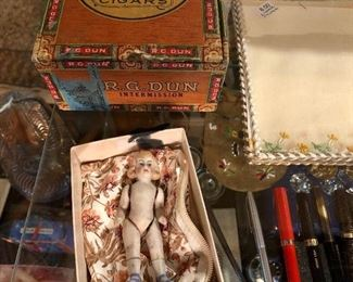 R G Dun 5 cent cigar box, antique bisque doll