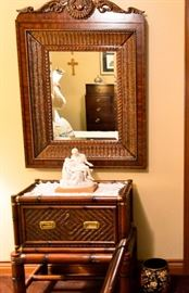Bamboo mirror and bachelor chest