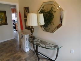 mirror, lamp,glass  top   entry  table