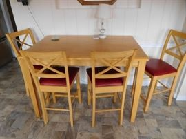 counter  height dinette  set  with  6  chairs