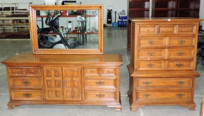 DRESSER WITH MIRROR AND TALL CHEST