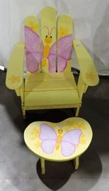 CHILD'S PAINTED ADIRONDACK CHAIR AND STOOL