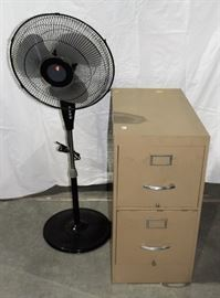 STANDING FAN AND FILE CABINET