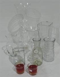 CRYSTAL VASES AND CANDLES