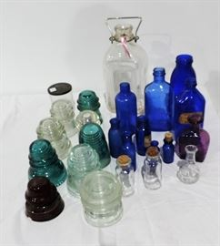 LOT OF ANTIQUE INSULATORS AND BOTTLES