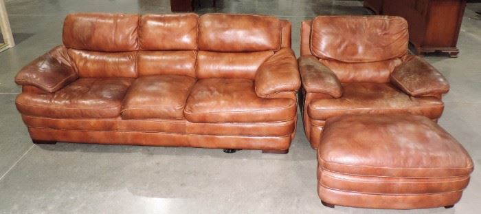 LEATHER SOFA AND CHAIR WITH STOOL