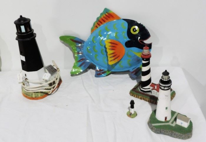 CERAMIC FISH AND LIGHTHOUSE LOT