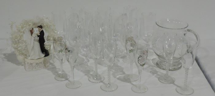 CRYSTAL STEMWARE AND PITCHER