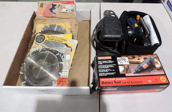 NEW SAW BLADES, SANDER AND TOOLS