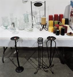 LOT OF IRON CANDLE STANDS AND CANDLES