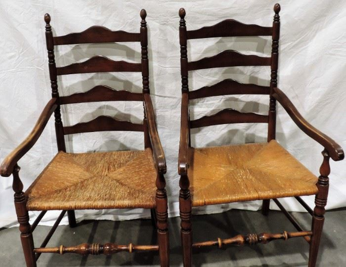 RUSH SEATS LADDER BACK CHAIRS