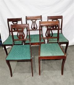 SET OF 5 VINTAGE LYRE BACK CHAIRS