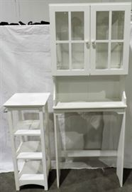 WHITE PAINTED BATHROOM CABINET AND STAND