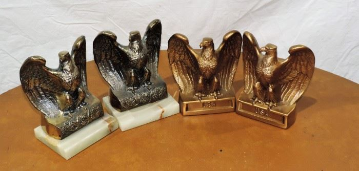 2 PAIR EAGLE BOOKENDS