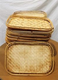 LARGE LOT OF BAMBOO SERVING TRAYS