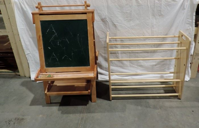 CHILD'S CHALK BOARD AND SHOE RACK