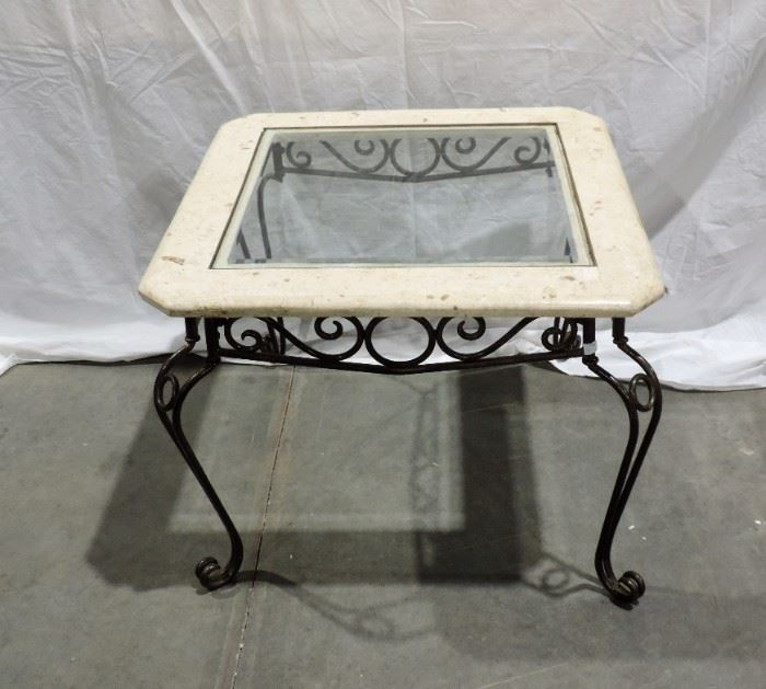 IRON AND GLASS END TABLE