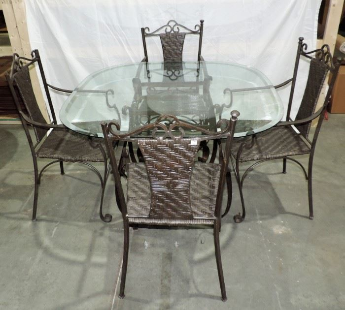 IRON AND GLASS PATIO SET