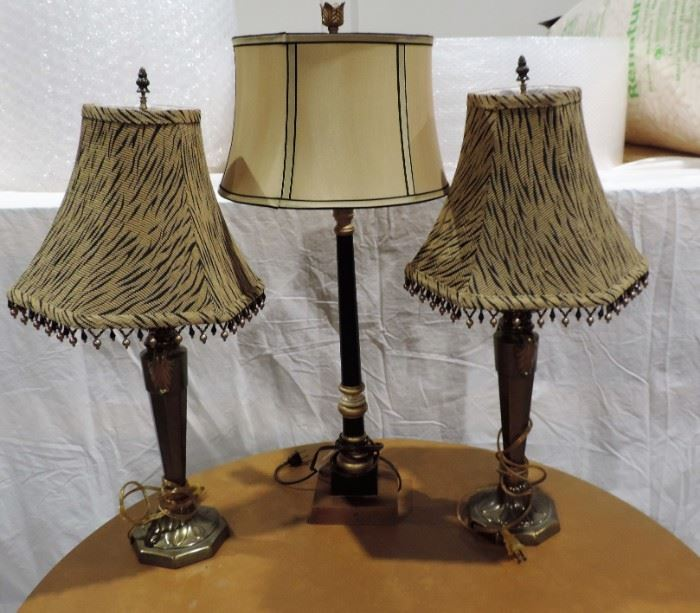 LOT OF 3 DECORATIVE LAMPS