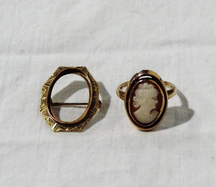 10 K GOLD CAMEO RING AND PIN FRAME