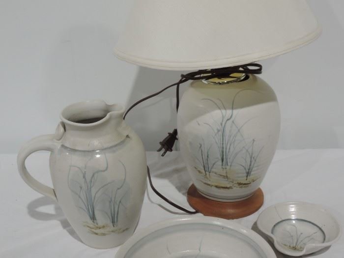 SIGNED PITCHER AND LAMP