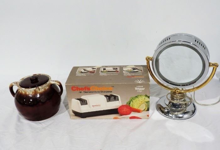 USA POTTERY BEAN POT, KNIFE SHARPENER AND VANITY MIRROR