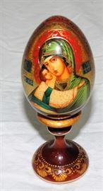 HAND PAINTED WOOD EGG ON STAND