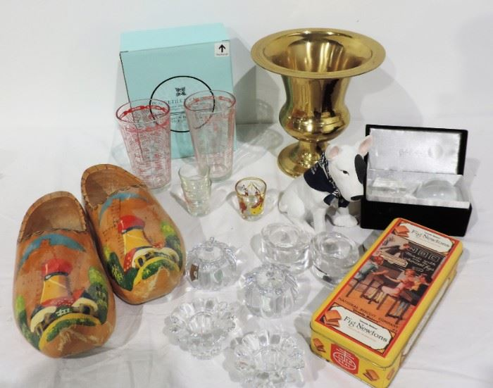 MISC. DUTCH SHOES BRASS URN AND BAR GLASS LOT