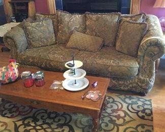 Sofa, coffee table, rug