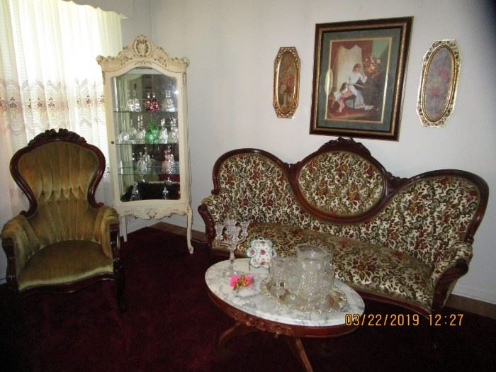 """Beautiful Vintage """"Kimball"""" Victorian Sofa, Gent's & Ladies Victorian Chairs  .Marble Top coffee table, Ornated Marble Victorian Table.. Gone With the Wind Lamps,  Lots of Carnival Glassware, Fenton, Moon/Star Collection, Doll Collection, Antique Secretary, Piano Stool,  BOOKS, etc."""