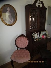 Ornate Pink Chair, Antique curved glass bookcase, secretary with 2 hidden shelves.....