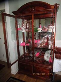 Pink Cabbage Rose Depression Glassware.  German plates, Cream/Sugar Collection.....