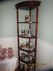 Collection of Stein's with and without box.. Corner Wood/Glass Display corner display.