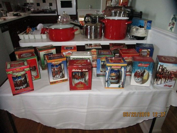 In Boxes  Stein Collection... Pots, Pan, Silverware, Silver-plated in Box, Can Goods, CorningWare,pyrex, glassware, small appliances.. Kitchen FULL of CLEAN items..