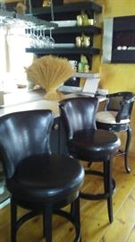 Leather Bar Stools, Wall Heater, Wine Glasses
