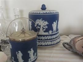 Wedgwood biscuit barrel and cake dome
