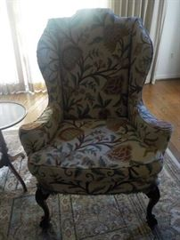 Crewel work wing chair