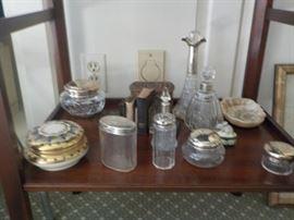 antique dresser and collection pots