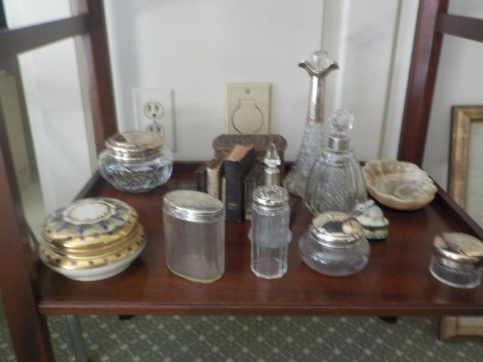 antique dresser and collection pots