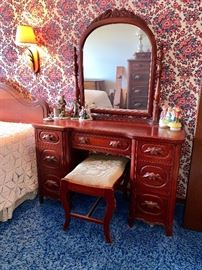Antique bedroom set w/full bed, Tall Dresser, Vanity w/mirror and needle point stool & night stand