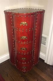 Tall Side table-leather and Hob-Nail-stunning decorator piece