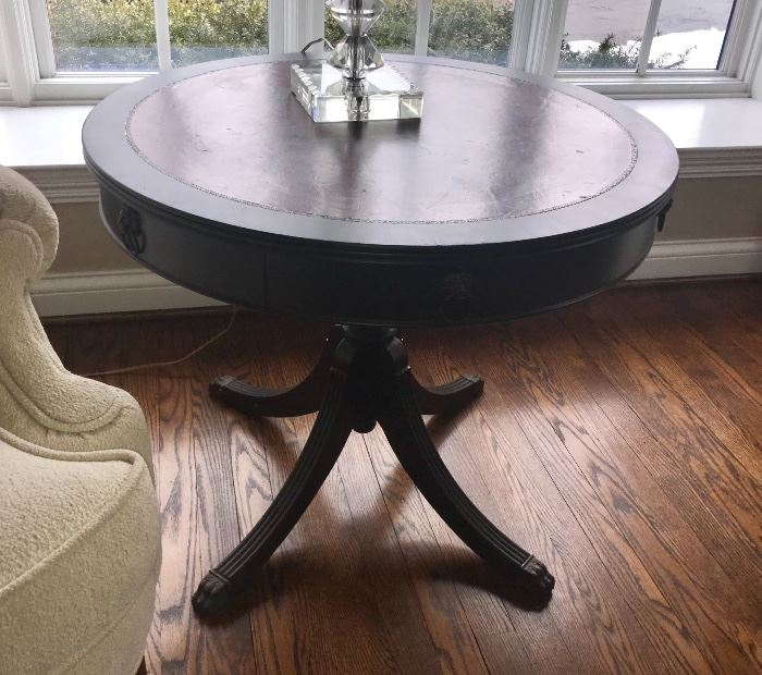 Vintage pedestal leg  Drum Table