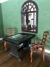 Attractive Spanish style Table/Desk and pair of Country French Chairs.  Window mirror